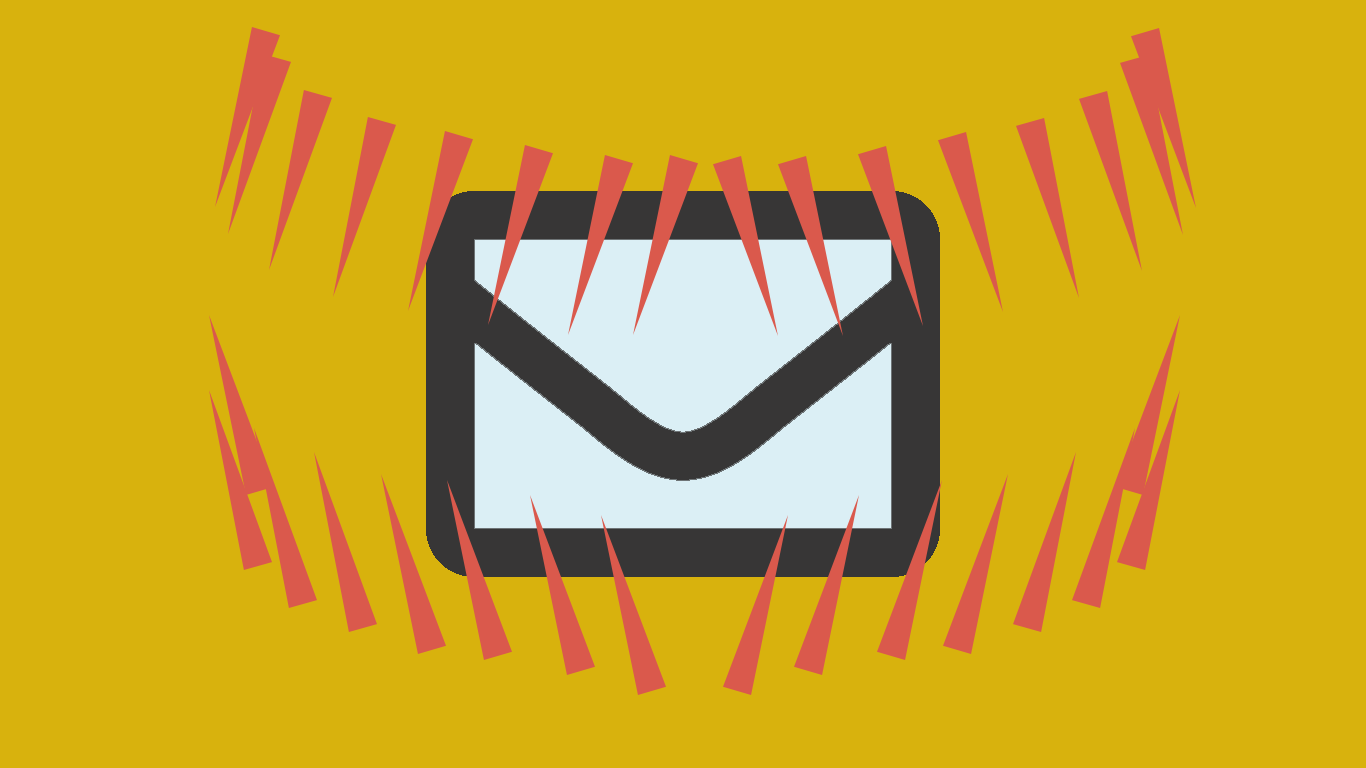 Email Dread - an envelope within jaws